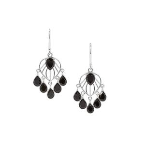 Black Spinel Earrings in Sterling Silver 13.96cts