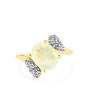 Ethiopian Opal & Diamond 10K Gold Ring ATGW 1.48cts