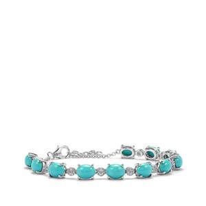 Sleeping Beauty Turquoise Bracelet with White Zircon in Sterling Silver 12.37cts