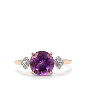 Moroccan Amethyst Ring with Diamond in 9K Gold 1.82cts