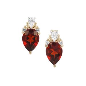 Madeira Citrine & White Zircon 9K Gold Earrings ATGW 1.32cts