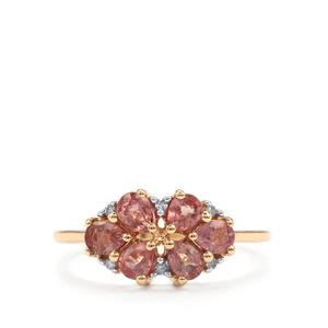 Padparadscha Sapphire Ring with Diamond in 9K Gold 1.19cts