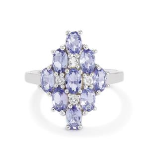 Tanzanite & White Topaz Sterling Silver Ring ATGW 2.30cts