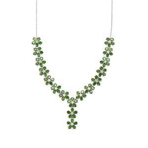 Chrome Diopside Necklace with White Topaz in Sterling Silver 17.21cts