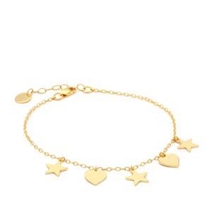 "7"" Midas Altro Star-Heart Bracelet 2.99g"