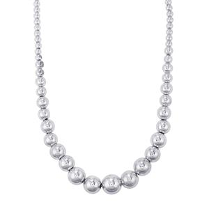 "18"" Graduated Bead Necklace  in Sterling Silver 28.04g"