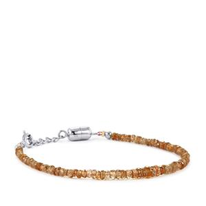 Cognac Zircon Graduated Bead Bracelet with Magnetic Lockin Sterling Silver 22.50cts