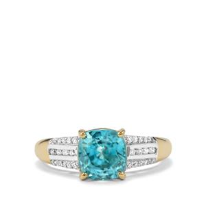 Ratanakiri Blue Zircon Ring with Diamond in 18k Gold 3.90cts