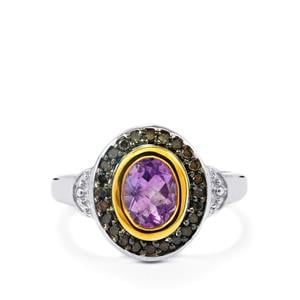 Moroccan Amethyst & Champagne Diamond Sterling Silver Ring ATGW 1.34cts