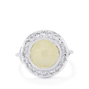 Rainbow Moonstone & White Topaz Sterling Silver Locket Ring ATGW 4.47cts