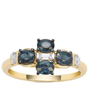 Natural Nigerian Blue Sapphire Ring with White Zircon in 9K Gold 1.25cts