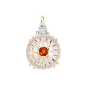 Lehrer Iris White Quartz, Madeira Citrine Pendant with Diamond in 10K Gold 6.39cts