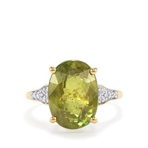 Ambilobe Sphene & Diamond 18K Gold Lorique Ring MTGW 7.97cts