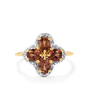 Bekily Color Change Garnet Ring with Diamond in 10k Gold 1.65cts