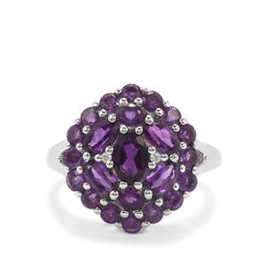 Zambian, Ametista Amethyst & White Zircon Platinum Plated Sterling Silver Ring ATGW 2.52cts