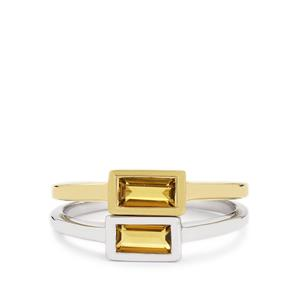 Yellow Tourmaline Set of 2 Rings in Two Tone Gold Plated Sterling Silver 0.68cts