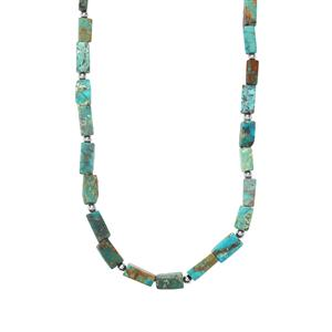74ct Lhasa Turquoise Sterling Silver Bead Necklace