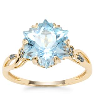 Wobito Snowflake Cut Sky Blue Topaz Ring with Blue Diamond in 9K Gold 5.64cts