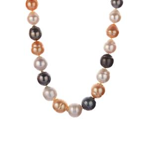 Tahitian, South Sea & Golden South Sea Pearl Necklace in Sterling Silver (14x12mm)