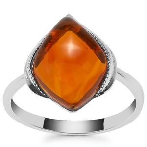 American Fire Opal Ring in Sterling Silver 3.77cts