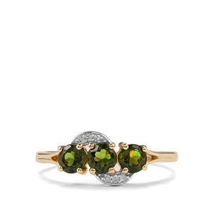 Chrome Tourmaline & Diamond 10K Gold Ring ATGW 0.75cts