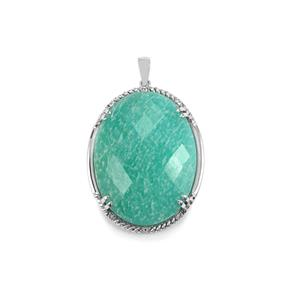 Amazonite & White Topaz Sterling Silver Pendant ATGW 54.06cts