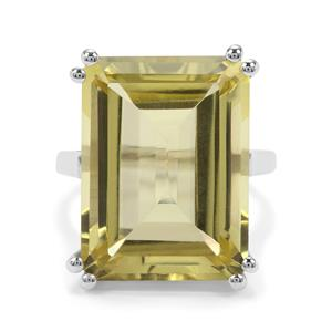 19.45ct Golden Green Quartz Sterling Silver Ring