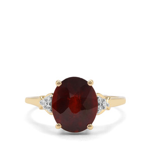 Gooseberry Grossular Garnet & White Zircon 9K Gold Ring ATGW 4.21cts