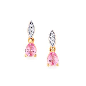 Pink Sapphire & Diamond 14K Rose Gold Earrings ATGW 0.71cts