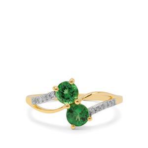 Tsavorite Garnet Ring with Diamond in 9K Gold 1.05cts