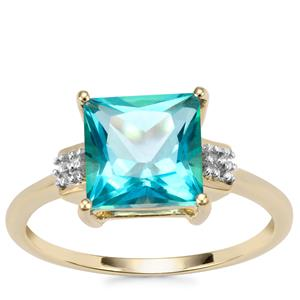 Batalha Topaz Ring with Diamond in 10k Gold 3.07cts