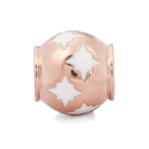 White Stars Kama Bead Charms in Rose Gold Plated Sterling Silver