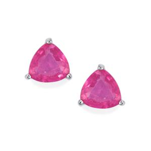 Ilakaka Hot Pink Sapphire Earrings in Sterling Silver 3.26cts (F)
