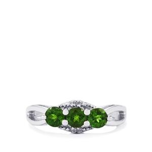 Chrome Diopside Ring with Diamond in Sterling Silver 0.86ct
