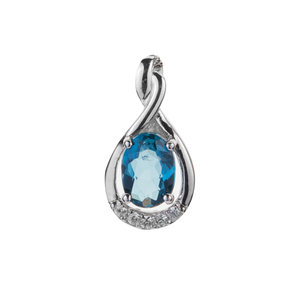 Ceylonese London Blue Topaz Pendant with White Zircon in Sterling Silver 1.05cts