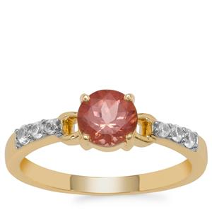 Rosé Apatite Ring with White Zircon in 9K Gold 1.10cts