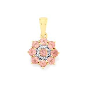 Mozambique Pink Spinel & Diamond 9K Gold Pendant ATGW 1.20cts