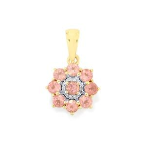 Mozambique Pink Spinel Pendant with Diamond in 9K Gold 1.2cts