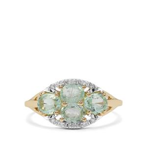 Paraiba Tourmaline Ring with Diamond in 10K Gold 1.42cts
