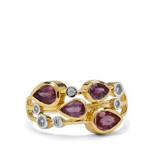 Padparadscha Sapphire Ring with White Zircon in 9K Gold 1.65cts