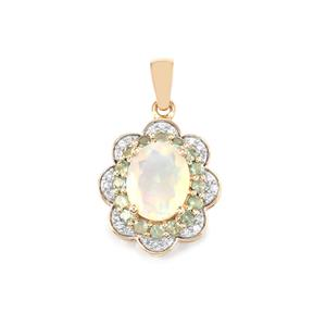 Ethiopian Opal, Alexandrite Pendant with White Zircon in 10K Gold 2.27cts
