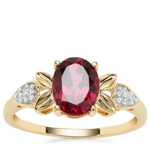 Mahenge Pink Garnet Ring with White Diamond in 9K Gold 2.06cts