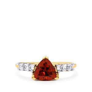 Zanzibar Sunburst Zircon Ring with Sri Lankan White Sapphire in 10k Gold 2.03cts