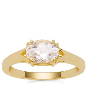 Goshenite Ring in Gold Plated Sterling Silver 1.11cts