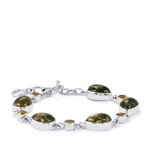 Apache Gold Pyrite & Diamantina Citrine Sterling Silver Aryonna Bracelet ATGW 35cts