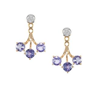 AA Tanzanite Earrings with Diamond in 9K Gold 1.70cts