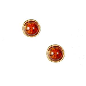 Baltic Cognac Amber Earrings  in Gold Tone Sterling Silver (7mm)