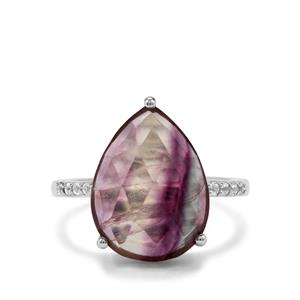 Argentine Rainbow Fluorite Ring with White Topaz in Sterling Silver 8.46cts