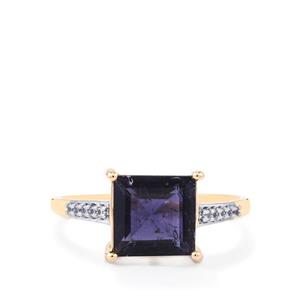 Bengal Iolite Ring with White Zircon in 10k Gold 1.86cts