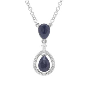 Rose Cut Bharat Blue Sapphire Necklace with White Zircon in Sterling Silver 3.28cts